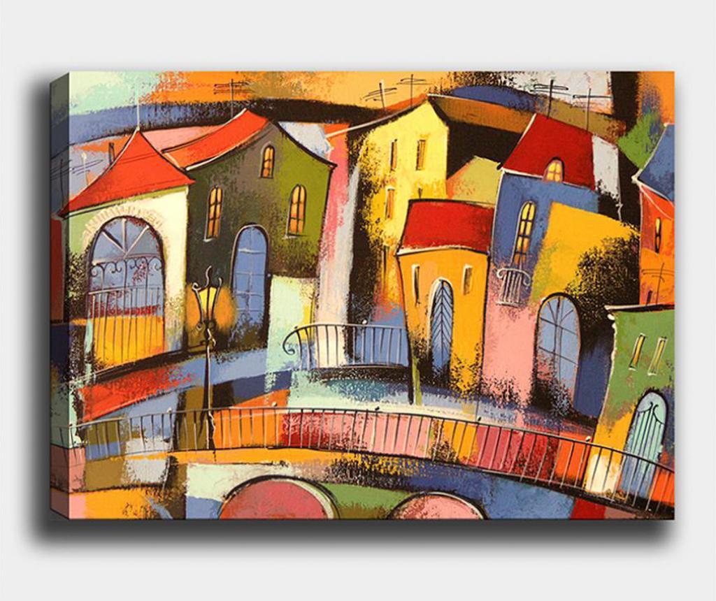 Tablou Village 50x70 cm - Tablo Center, Multicolor imagine