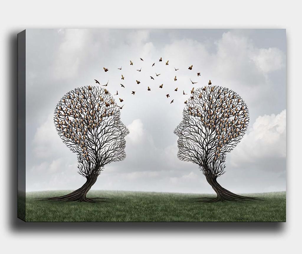 Tablou Tree-Bird 100x140 cm - Tablo Center, Multicolor poza