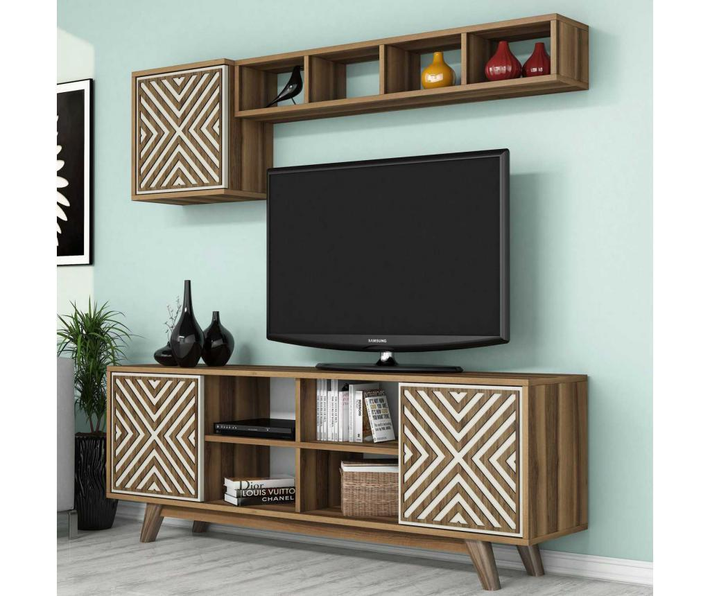 Set comoda TV si corp cu rafturi Inci Walnut Cream imagine