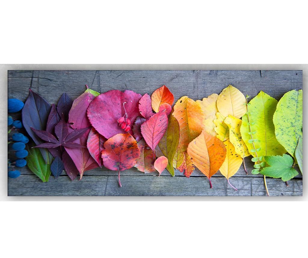 Tablou 5 Leaves 60x140 cm - Tablo Center, Multicolor imagine
