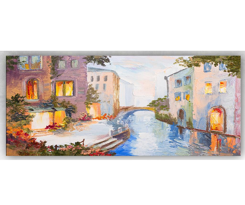 Tablou House And Bridge 60x140 cm - Tablo Center, Multicolor imagine