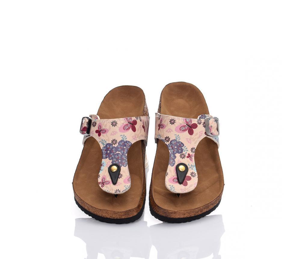 Papuci de plaja dama Blue Flowers 41 - CELLA, Multicolor