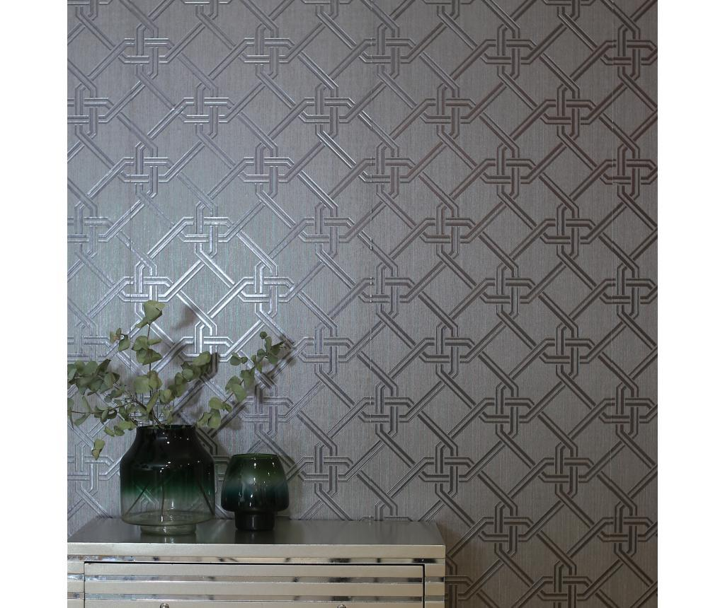 Tapet Gianni Foil Gunmetal and Silver 53x1005 cm - Arthouse imagine