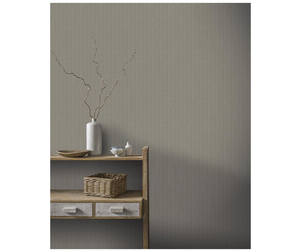 Tapet Herringbone Charcoal 53x1005 cm - Arthouse imagine