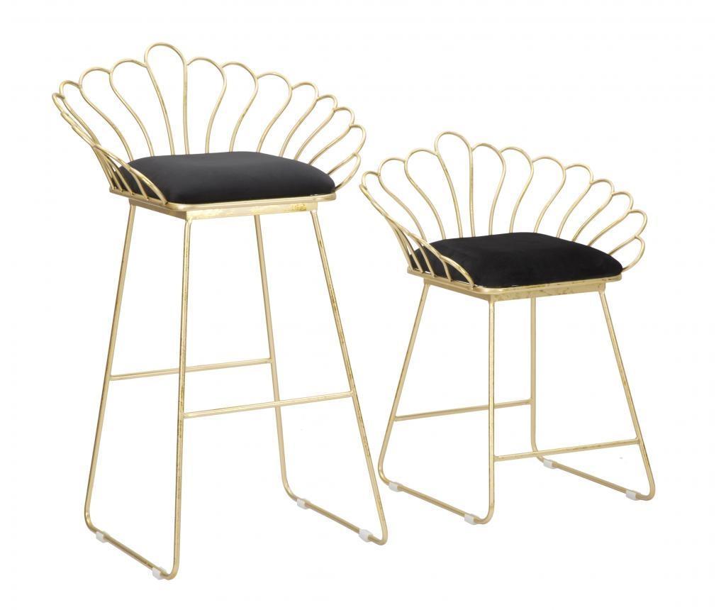 Set scaun si scaun de bar Glam - Mauro Ferretti, Negru imagine