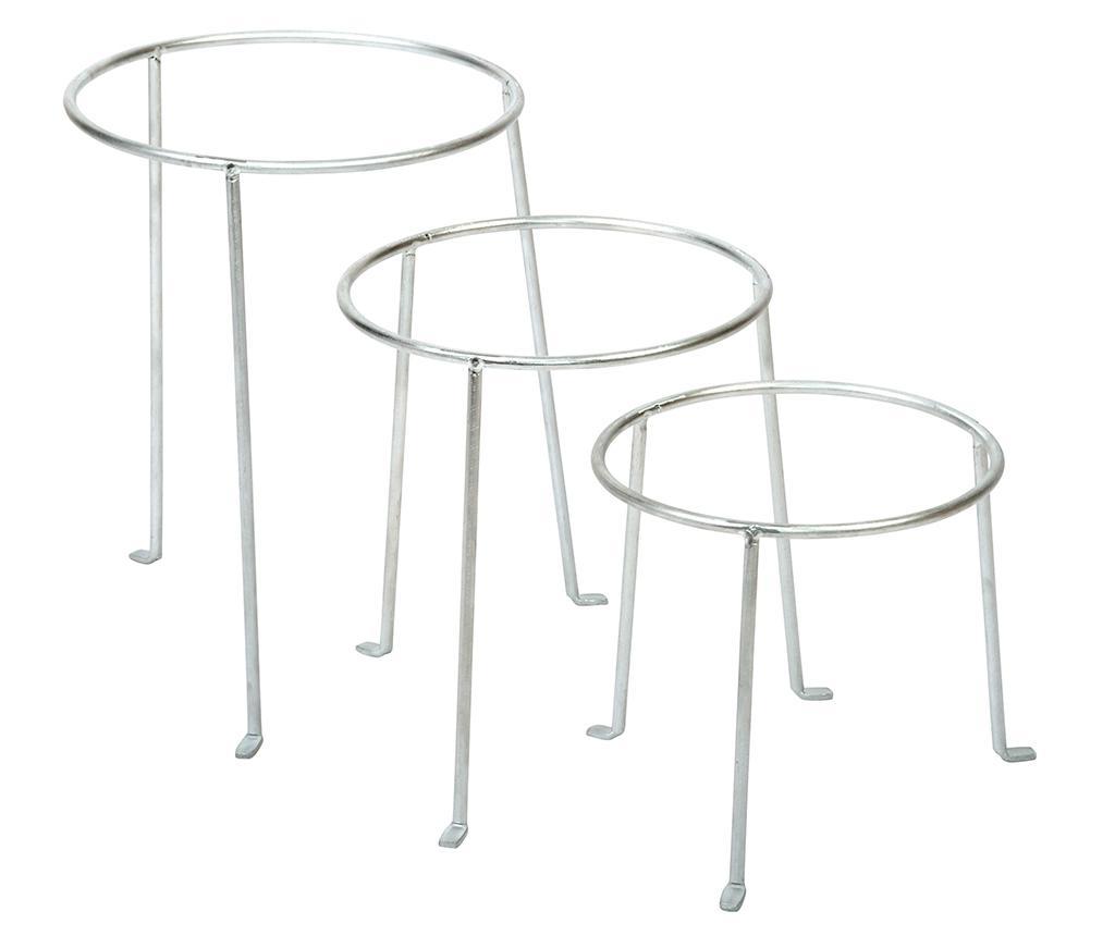 Set 3 suporturi pentru ghivece - Esschert Design, Gri & Argintiu imagine