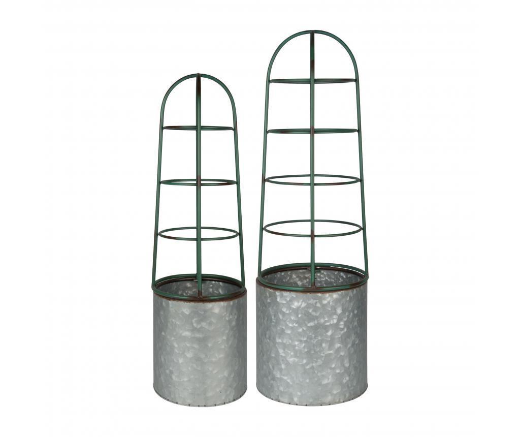 Set 2 suporturi pentru ghivece - Esschert Design, Gri & Argintiu vivre.ro