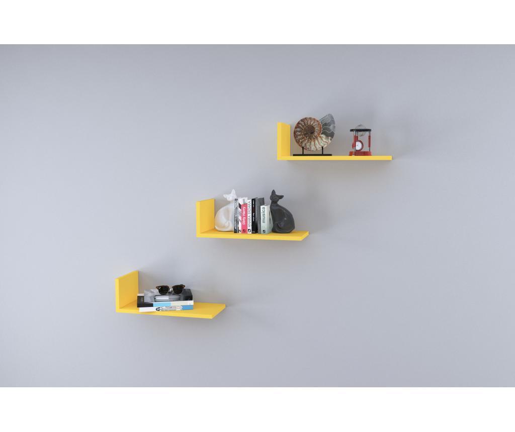 Set 3 rafturi de perete - Oyo Concept, Galben & Auriu imagine