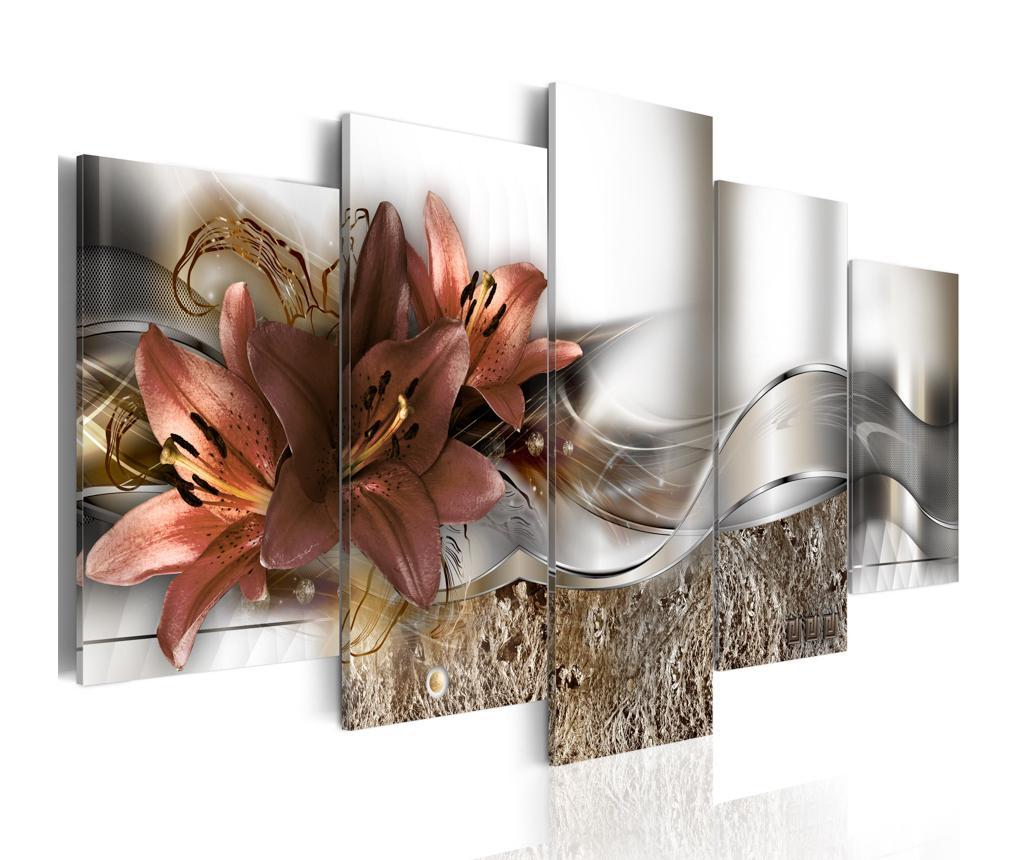 Set 5 tablouri Lily Marsala And Abstraction - Artgeist, Multicolor vivre.ro