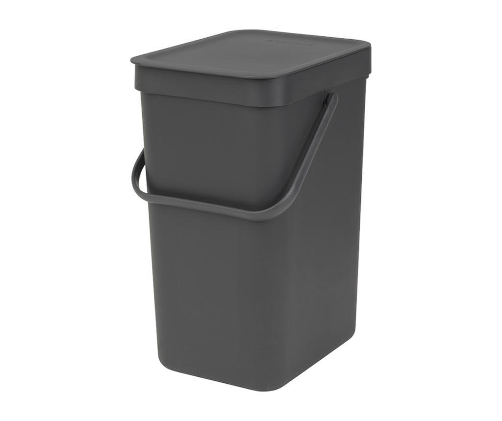 Cos de gunoi cu capac Brabantia Sort & Go Black 12 L imagine