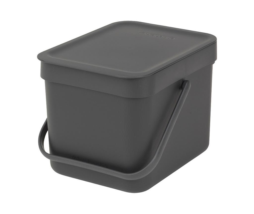 Cos de gunoi cu capac Brabantia Sort & Go Black 6 L imagine
