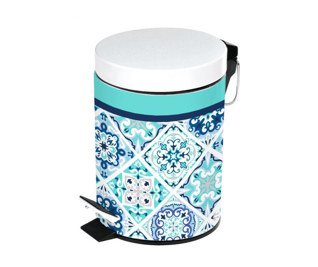 Cos de gunoi cu capac si pedala 3 L - douceur d'intérieur, Alb,Albastru imagine