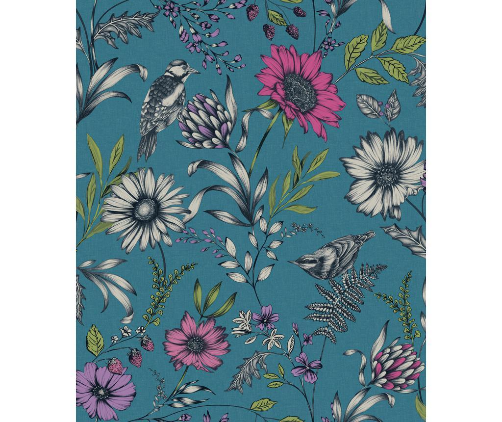 Tapet Botanical Songbird Teal 53x1005 cm - Arthouse imagine