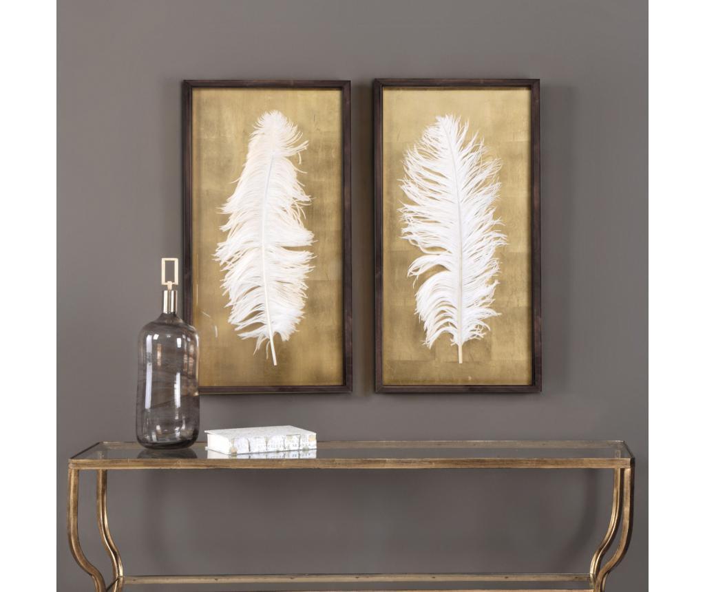 Set 2 tablouri White Feathers 30x70 cm vivre.ro