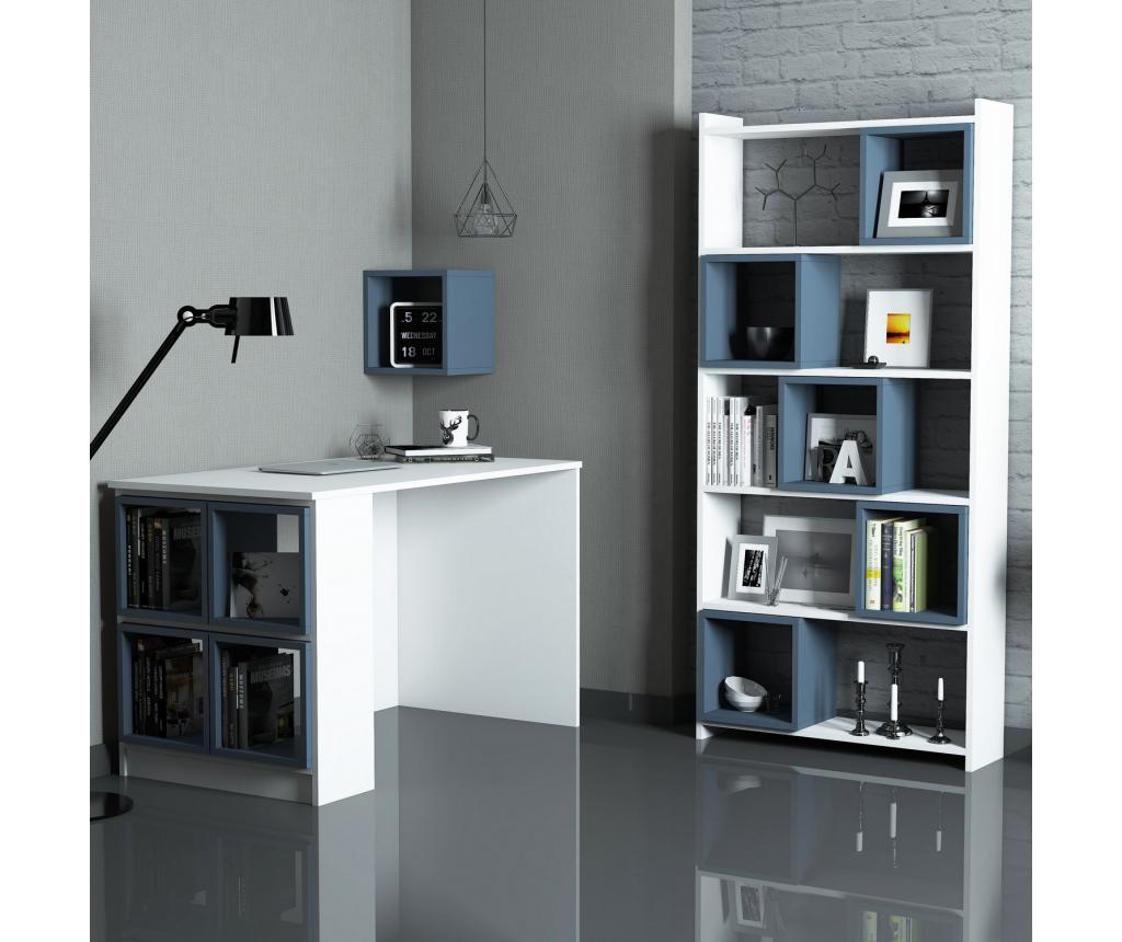 Set birou si etajera - Hommy Craft, Alb,Albastru imagine