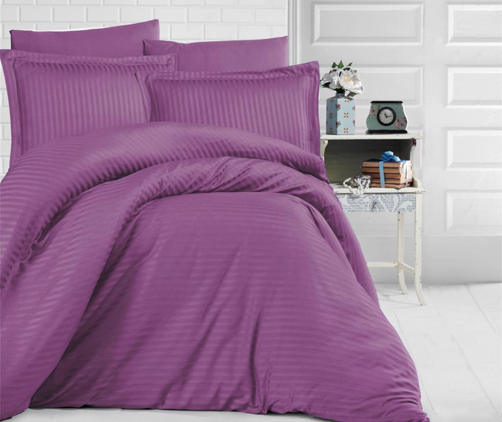 Lenjerie de pat King Satin Supreme Uni Color Purple - Clasy, Mov imagine