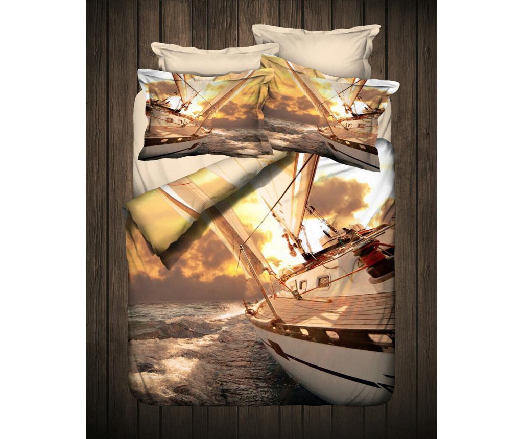 Lenjerie de pat Single Ranforce 3D Print Yacht - DITEX, Roz,Multicolor imagine