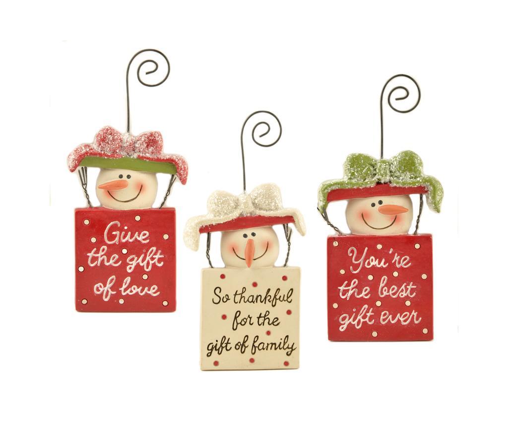 Set 3 decoratiuni suspendabile Snowmen imagine