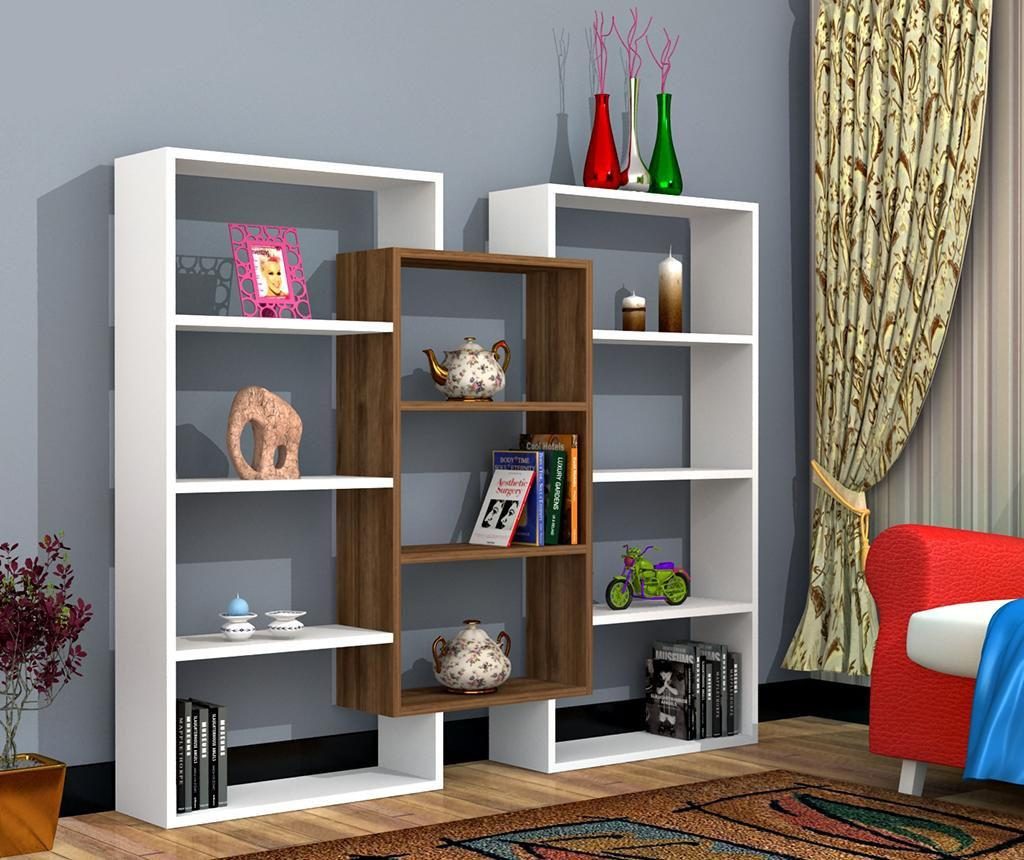 Biblioteca Munhai White Walnut - Oyo Concept, Alb,Maro