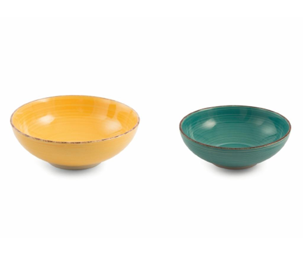 Set 2 boluri pentru salata Baita Yellow and Turquoise - Villa D'Este imagine
