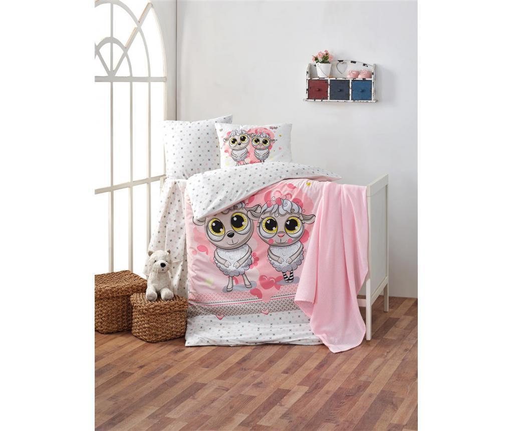 Set lenjerie de patut Happy Lambs Pink