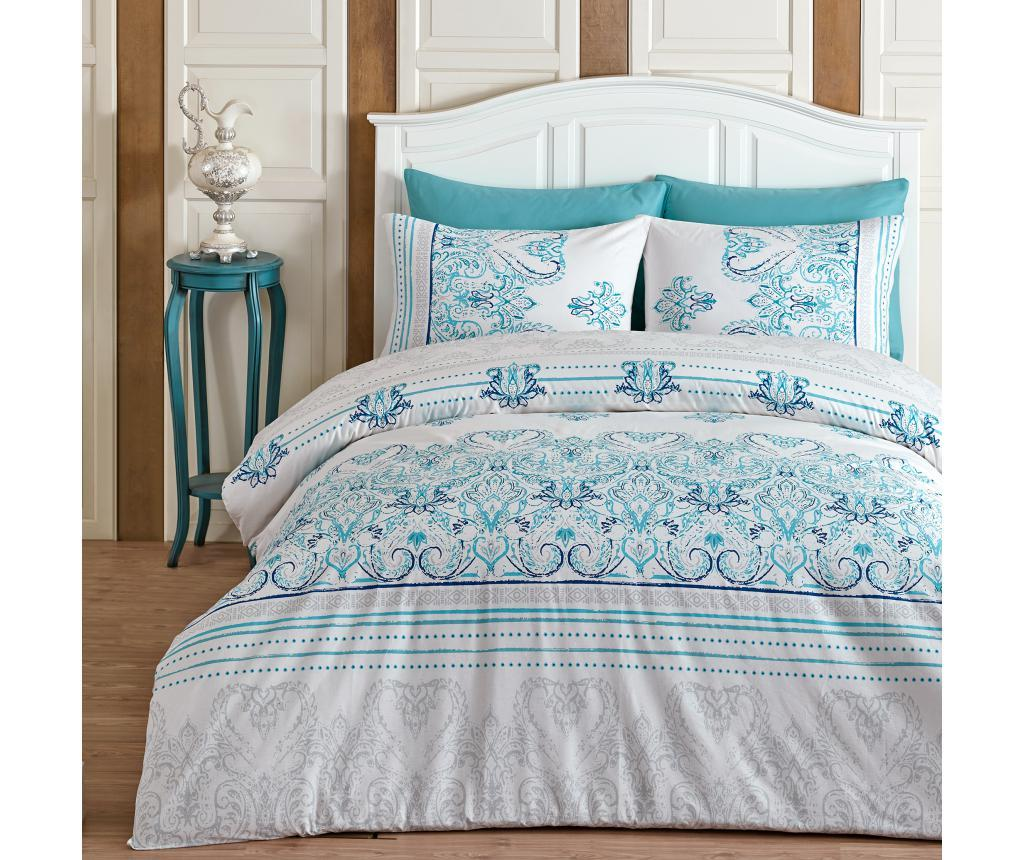 Lenjerie de pat King Ranforce Albinia Double - Majoli Bahar Home Collection, Alb poza