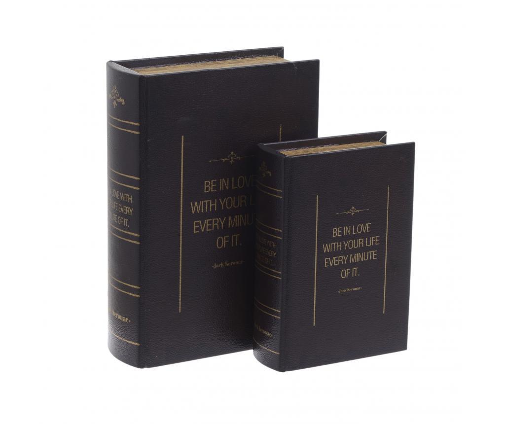 Set 2 cutii tip carte Clio - inart, Maro poza