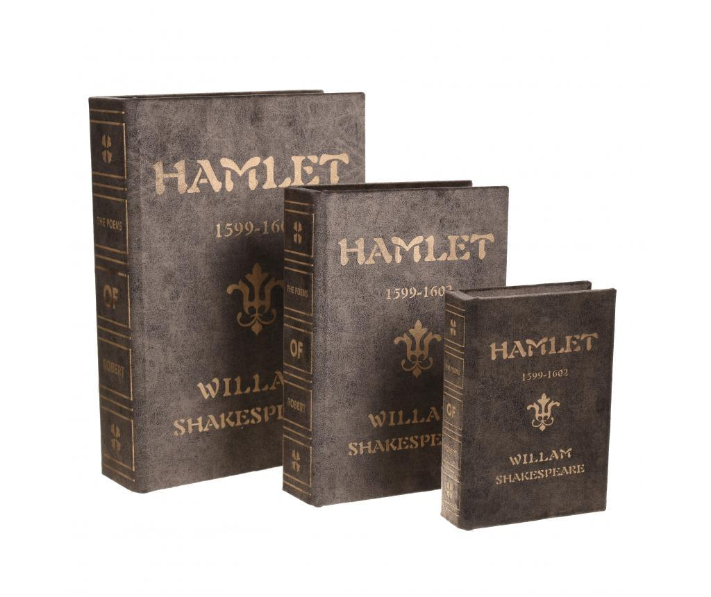 Set 3 cutii tip carte Hamlet - inart, Gri & Argintiu poza