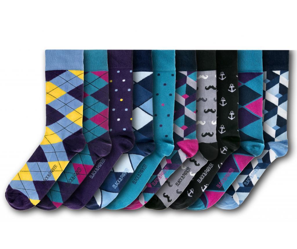 Set 10 perechi de sosete unisex Kent 37-43 - Black&Parker, Multicolor poza