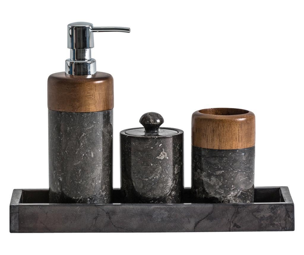 Set 4 accesorii de baie - Vical Home, Galben & Auriu,Negru