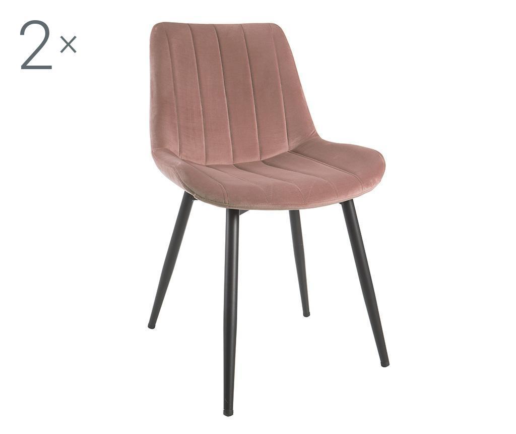 Set 2 scaune Nordic - Baroni Home, Negru,Roz