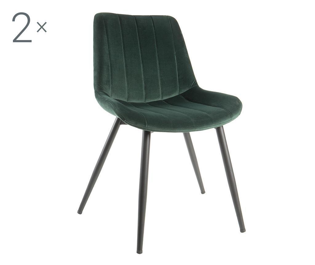 Set 2 scaune Nordic - Baroni Home, Negru,Verde vivre.ro