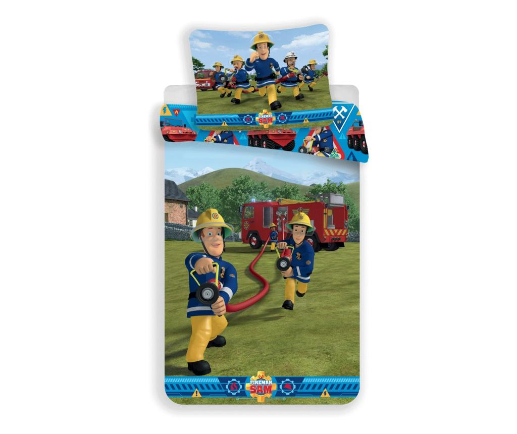 Set de pat Single Ranforce Fireman Sam - Fireman Sam, Multicolor de la Fireman Sam