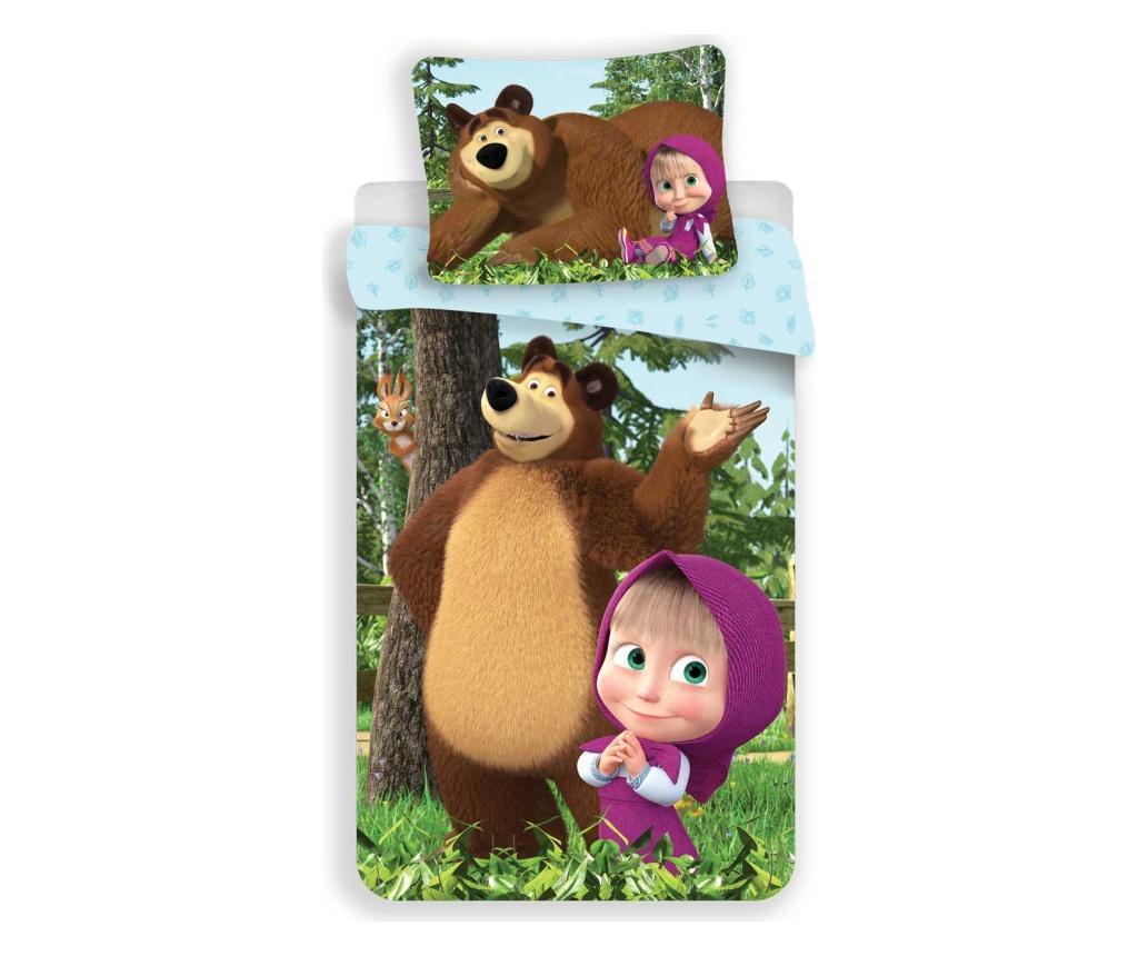 Set de pat Single Ranforce Masha and the Bear - Masha and the Bear, Multicolor imagine