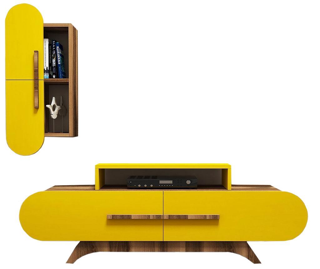 Set comoda TV si cabinet Gail - Hommy Craft, Galben & Auriu imagine