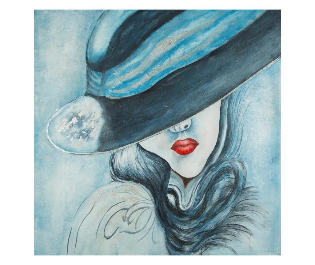 Tablou Shy Woman 100x100 cm - Eurofirany, Albastru imagine