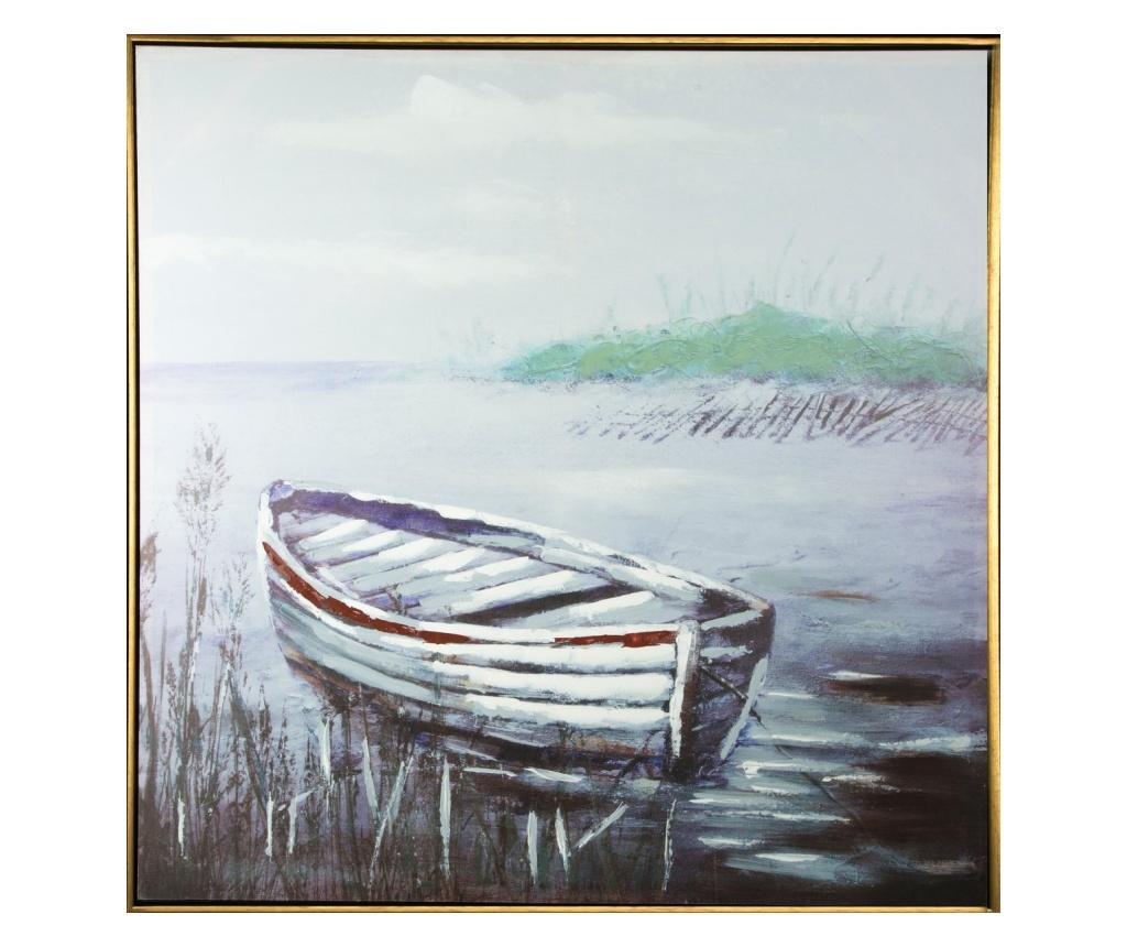 Tablou Boats 100x100 cm - Eurofirany, Gri & Argintiu imagine