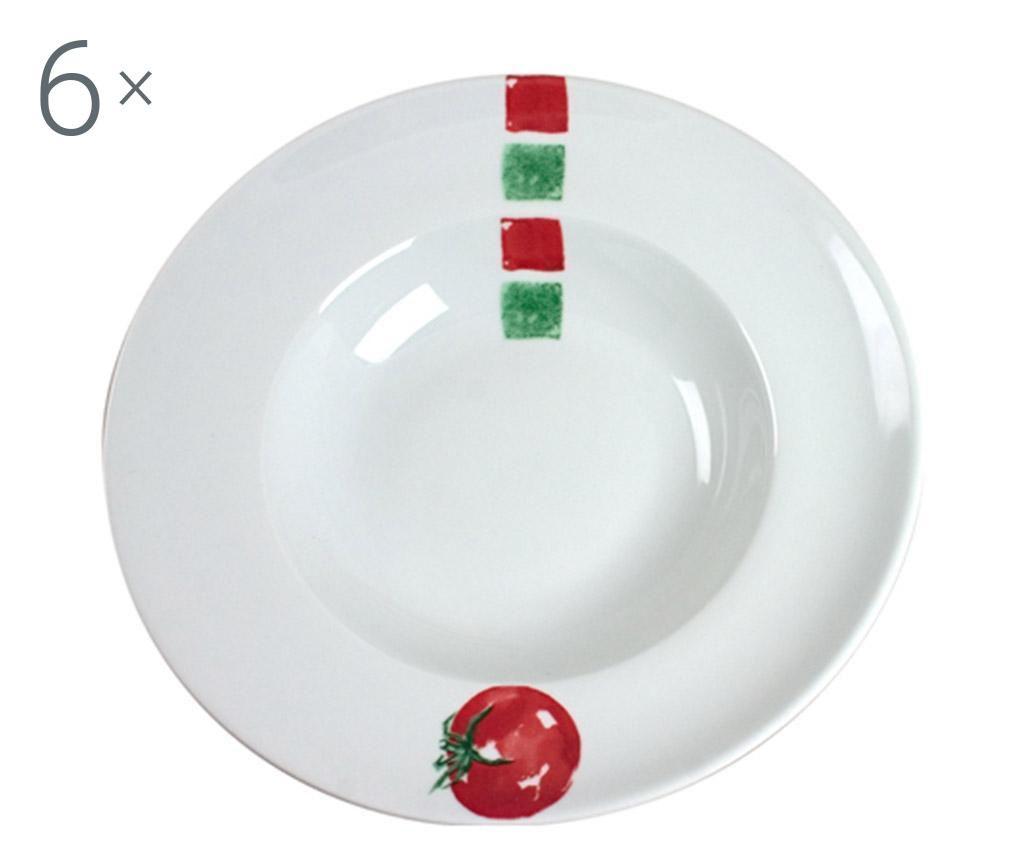 Set 6 farfurii pentru paste Tasty Tomato - Cosy & Trendy, Alb poza