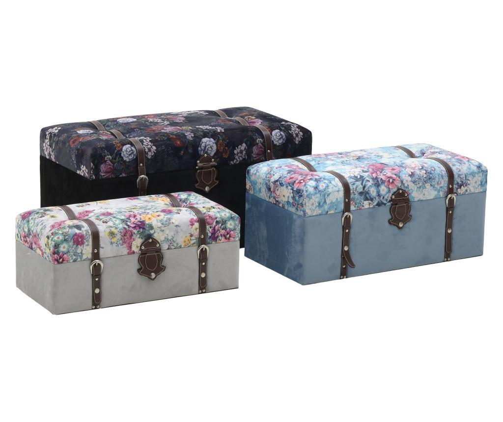 Set 3 taburete Velvet Trunk Flowers - inart, Multicolor