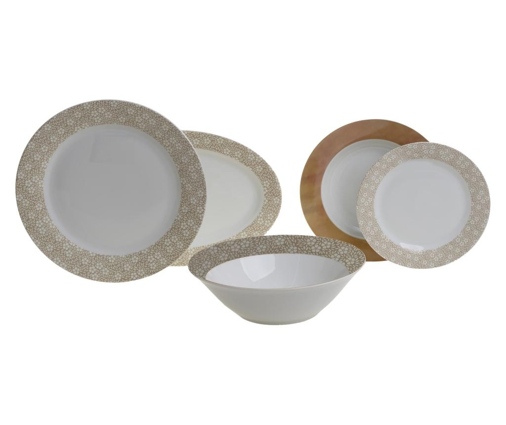 Set de masa 20 bucati Dine Brown - inart, Alb imagine