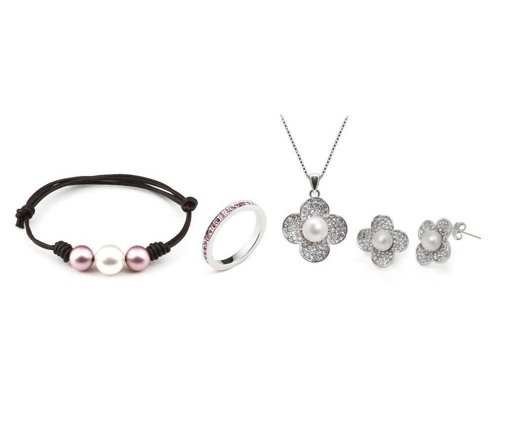 Set bijuterii 4 piese - VANCRYSTALS, Gri & Argintiu poza