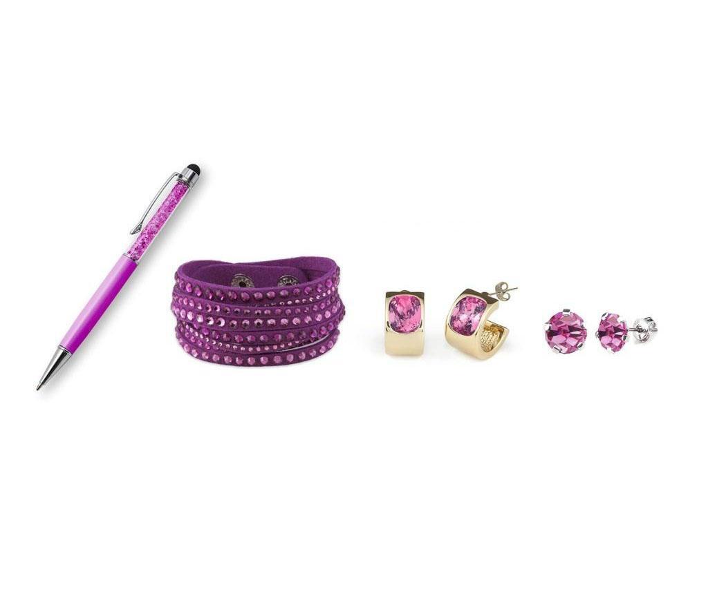 Set 3 bijuterii si stilou - VANCRYSTALS, Roz poza