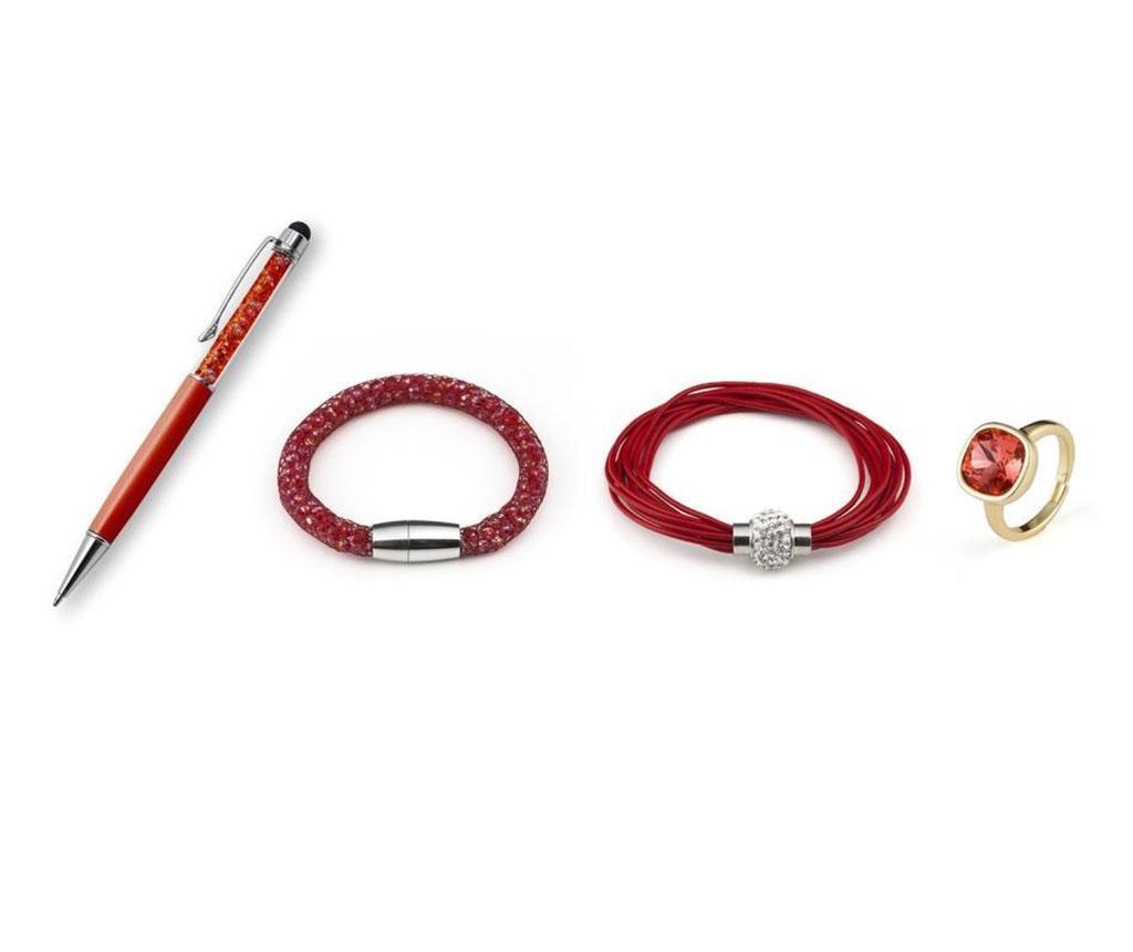 Set 3 bijuterii si stilou - VANCRYSTALS, Rosu poza