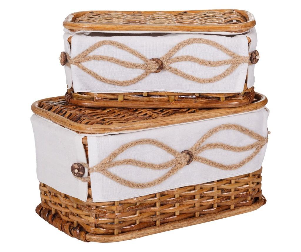 Set 2 cutii pentru accesorii de cusut - Creaciones Meng, Maro poza