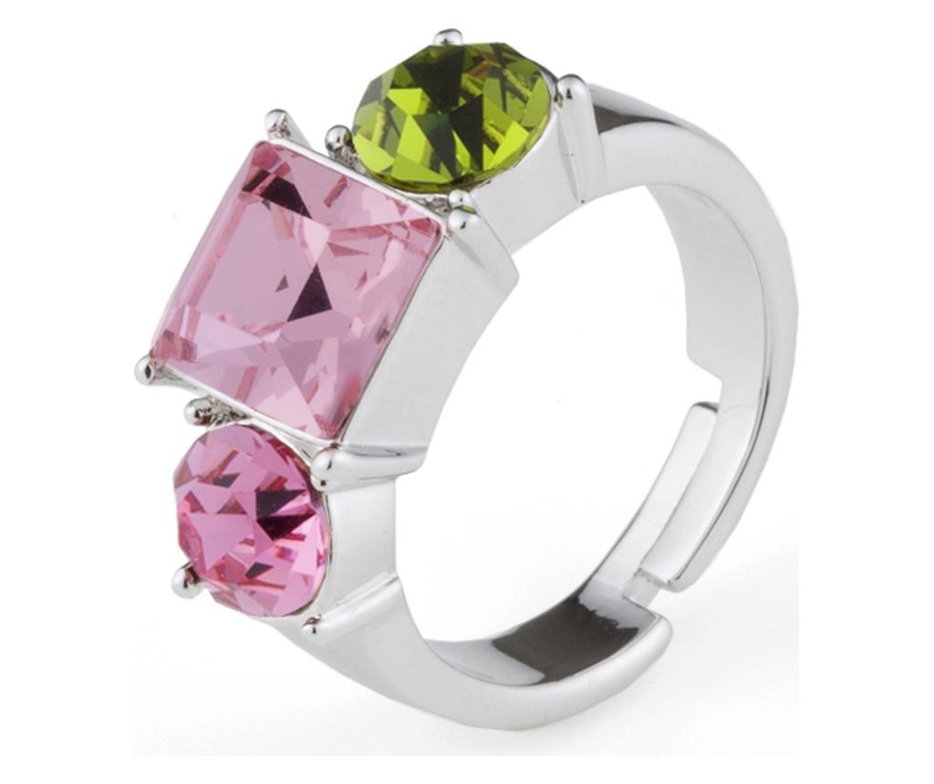 Inel Siris Silver, Pink And Green 20 mm - VipDeluxe, Verde imagine