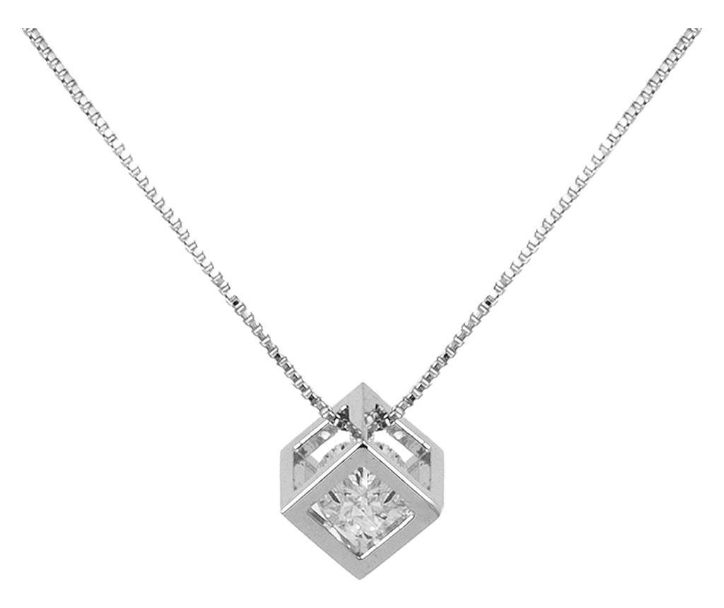 Lantisor cu pandantiv Cubo Banado Silver - VipDeluxe, Gri & Argintiu