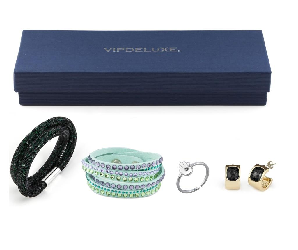 Set bijuterii 4 piese VipDeluxe Green And Black - VipDeluxe, Negru poza