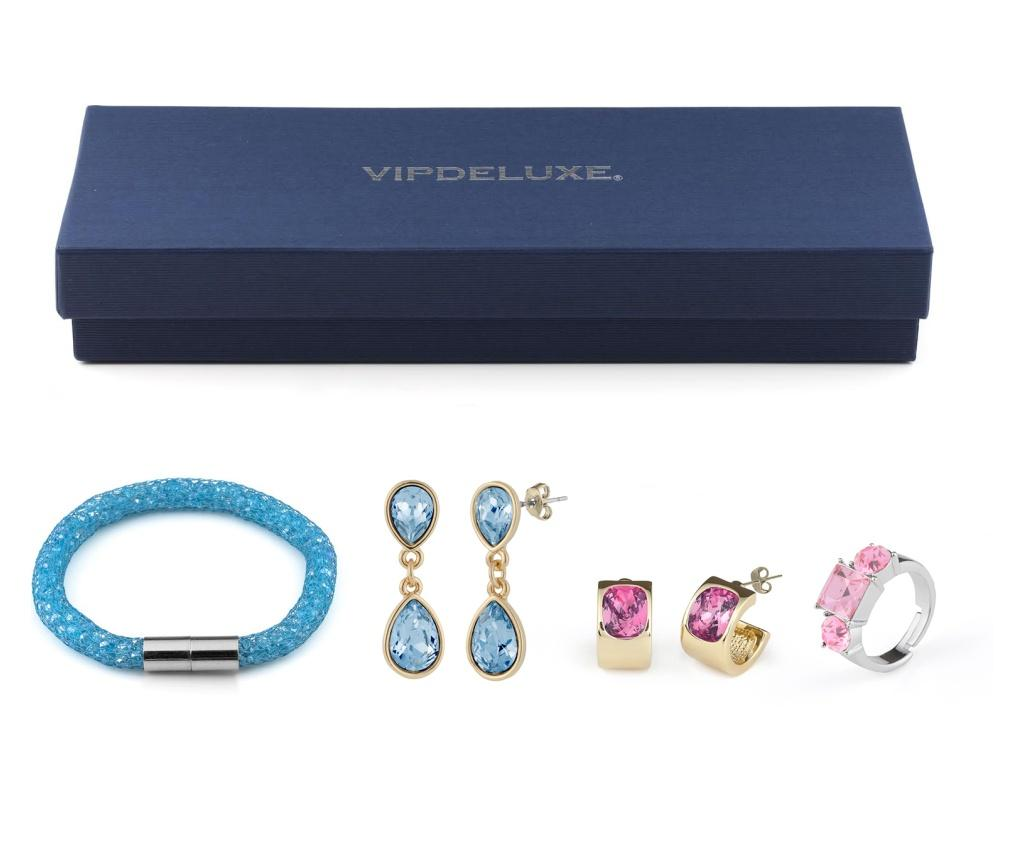 Set bijuterii 4 piese VipDeluxe Blue And Rose - VipDeluxe, Albastru poza