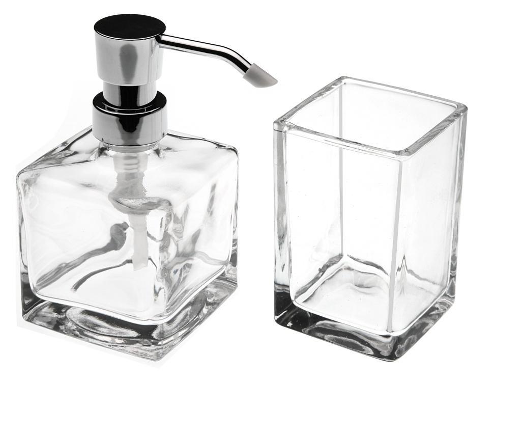 Set dispenser pentru sapun lichid si pahar de baie - Versa, Alb de la Versa