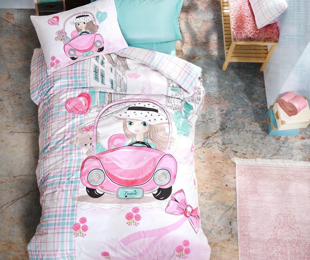 Lenjerie de pat Single Ranforce Paris Love Pink vivre.ro